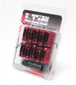Wheel Mate Monster Open End Lug Nut Set of 20 - Red 14x1.50