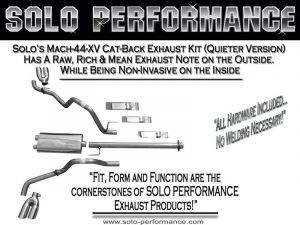 """F-150 2015-Present Solo Performance Mach-44-XV Dual CAT Back Exhaust System Ford F150 V8 157"""" Wheelbase"""